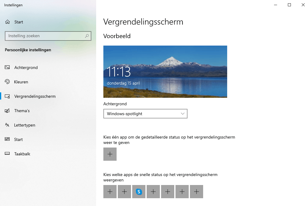 Windows 10 vergrendelingsscherm